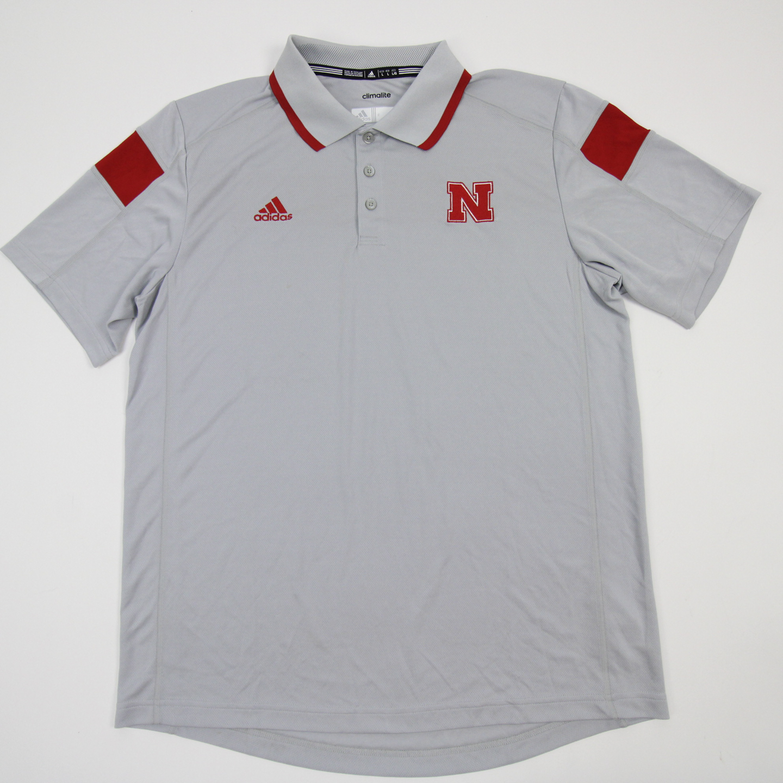 miniature 2 - Nebraska Cornhuskers adidas Climalite Polo Men's Gray/Red Used