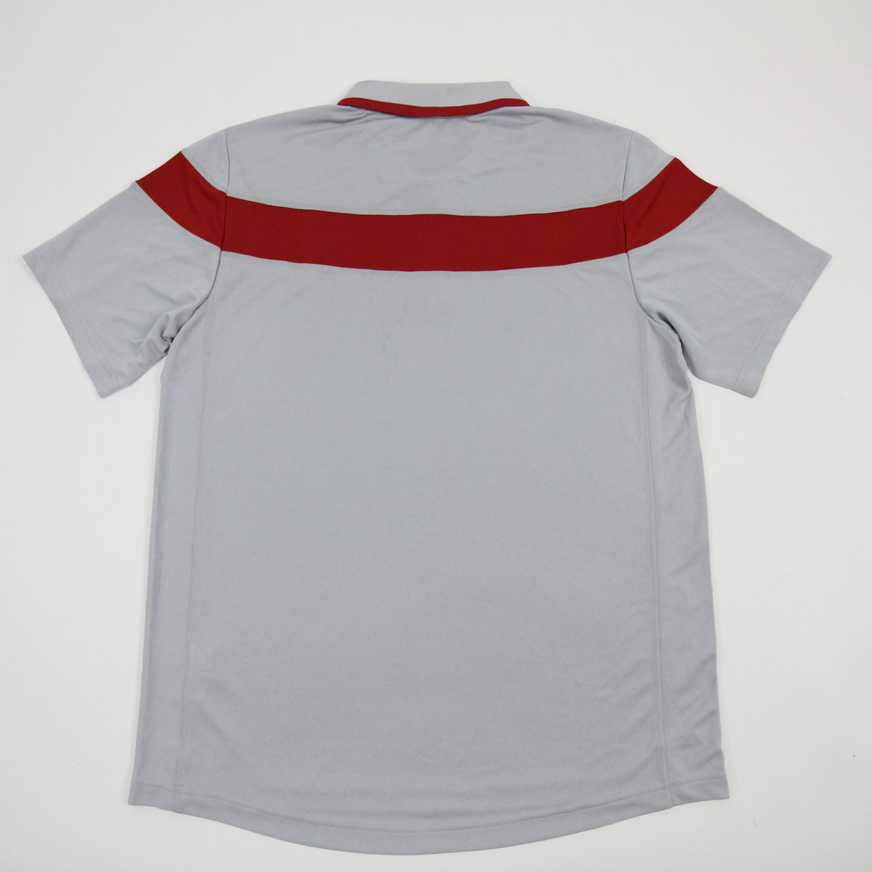miniature 3 - Nebraska Cornhuskers adidas Climalite Polo Men's Gray/Red Used